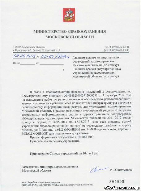 Минздрав МО. Письмо 05-53/288исх от 08.05.2013