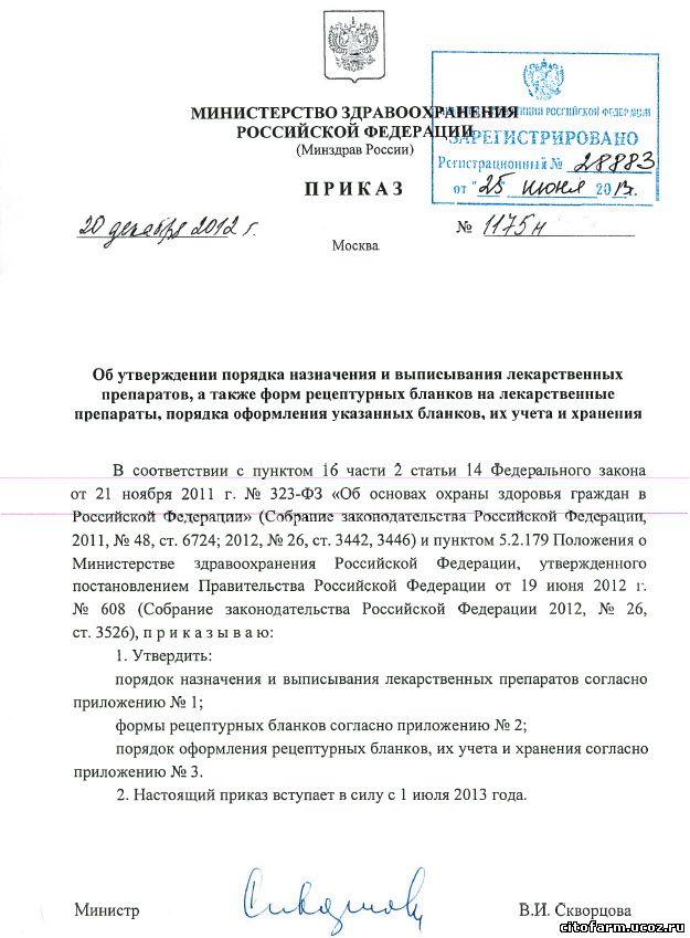 Приказ Минздрава России № 1175н от 20.12.2012 г.